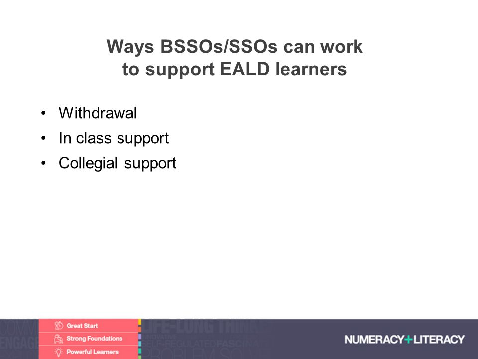 Ways BSSOs/SSOs can work to support EALD learners