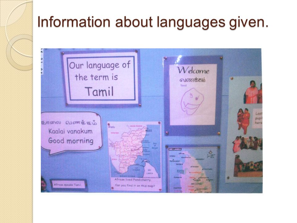 Information about languages given.