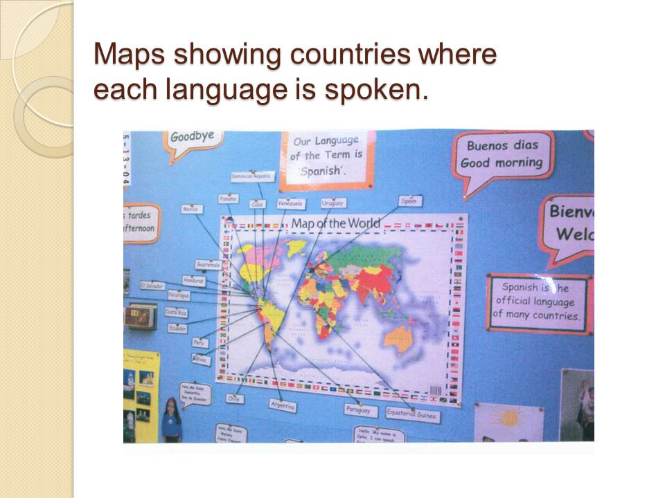 Maps showing countries where each language is spoken.