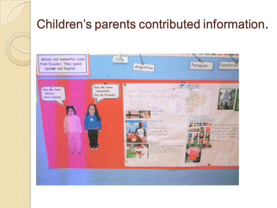 Children's parents contributed information.