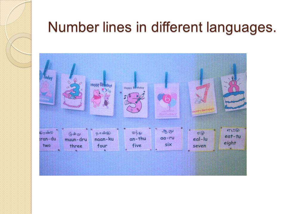 Number lines in different languages.