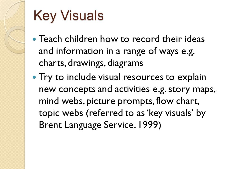 Key Visuals Teach children how to record their ideas and information in a range of ways e.g. charts, drawings, diagrams.