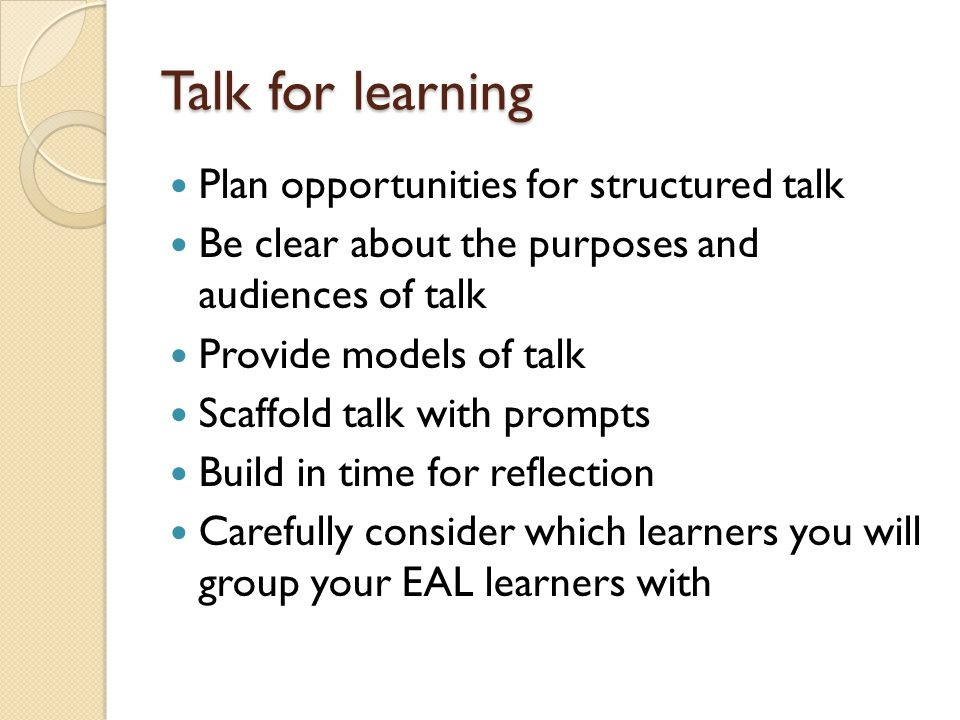 Talk for learning Plan opportunities for structured talk