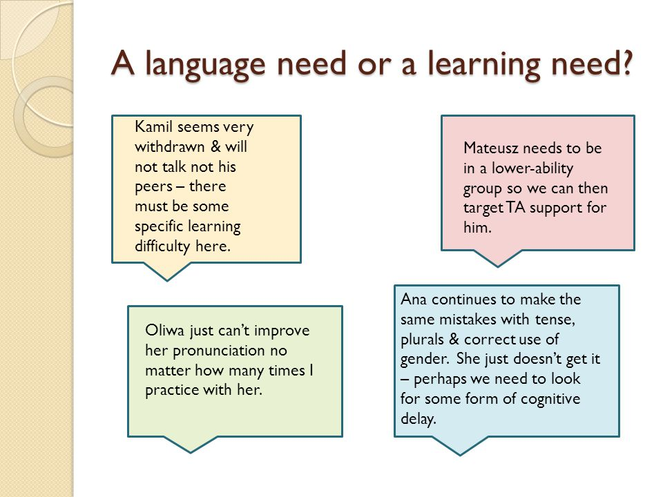 A language need or a learning need