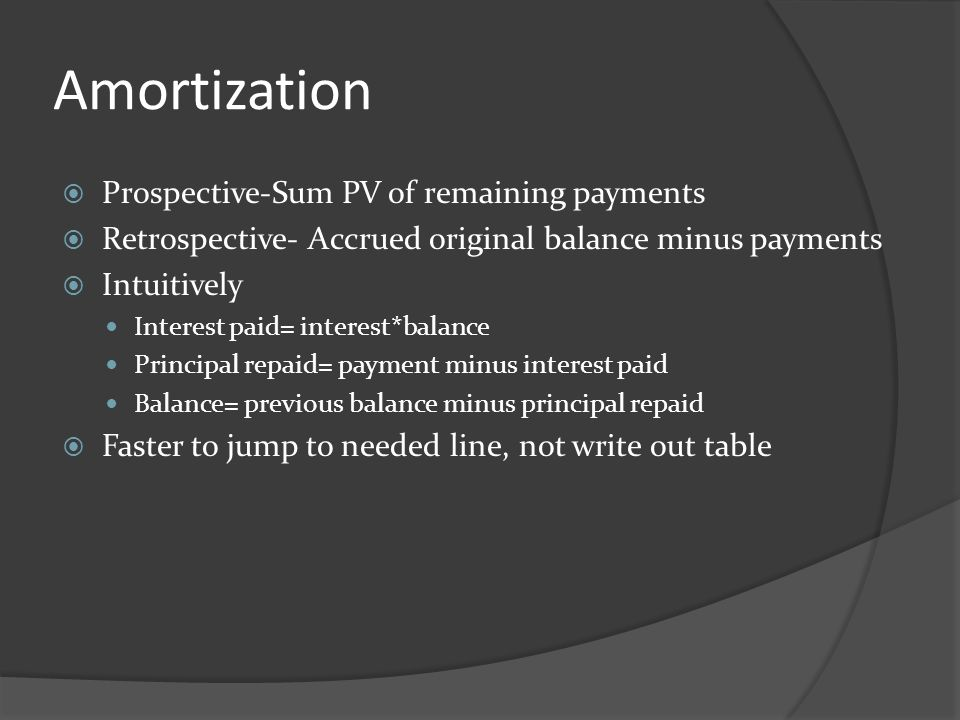 Amortization Prospective-Sum PV of remaining payments