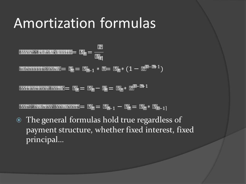 Amortization formulas