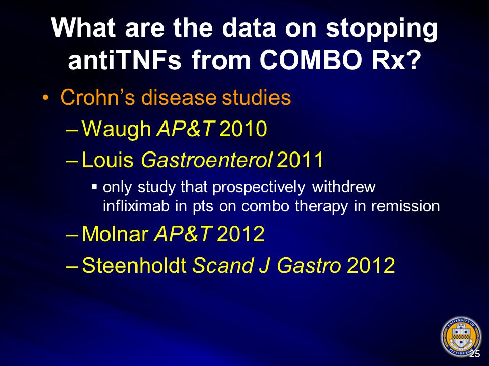 What are the data on stopping antiTNFs from COMBO Rx