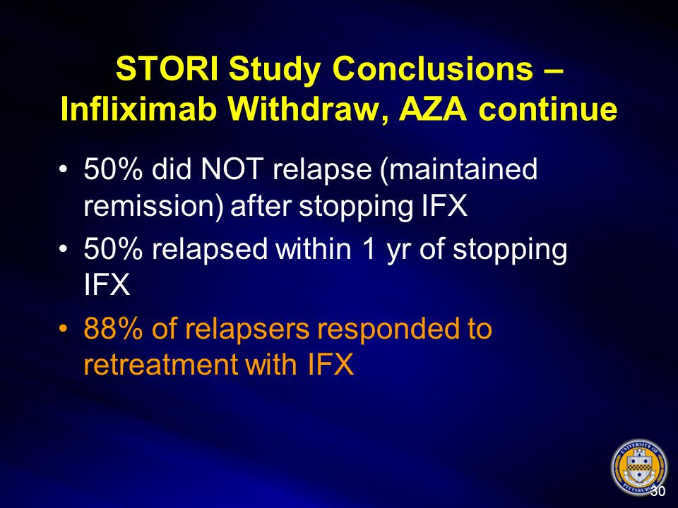 STORI Study Conclusions – Infliximab Withdraw, AZA continue