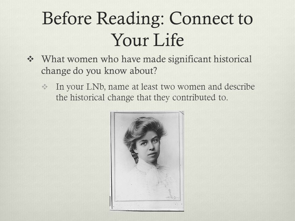 Before Reading: Connect to Your Life