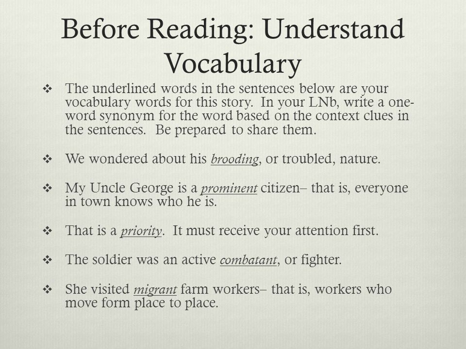 Before Reading: Understand Vocabulary