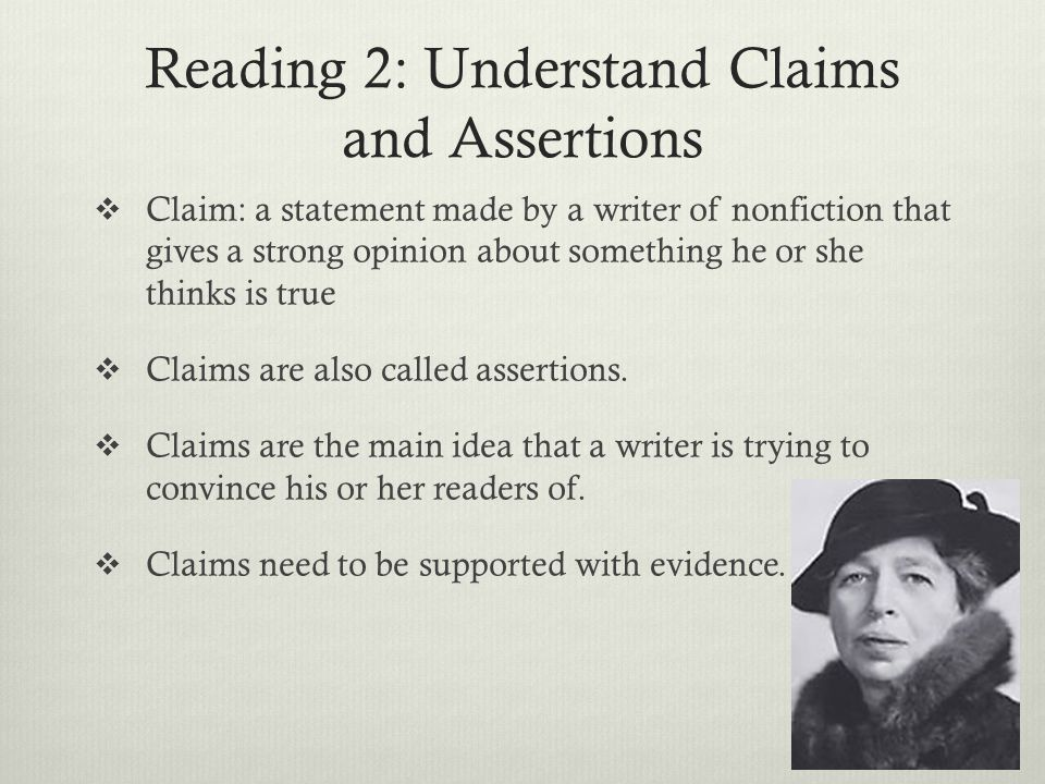 Reading 2: Understand Claims and Assertions