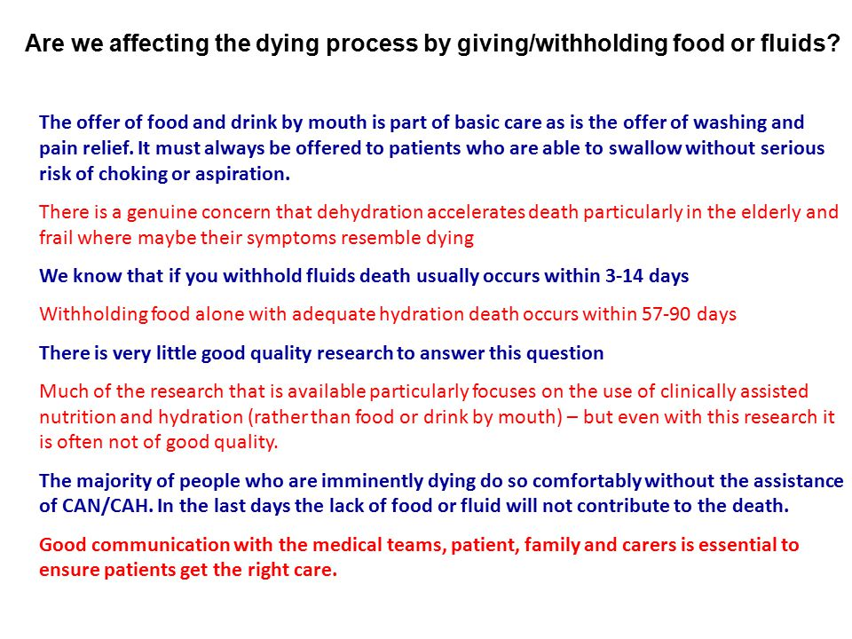 Are we affecting the dying process by giving/withholding food or fluids
