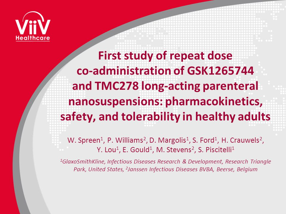 First study of repeat dose co-administration of GSK1265744 and TMC278 long-acting parenteral nanosuspensions: pharmacokinetics, safety, and tolerability in healthy adults