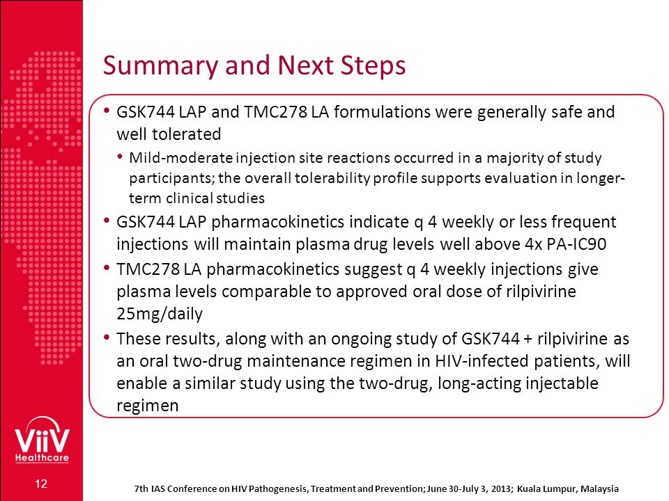 Summary and Next Steps GSK744 LAP and TMC278 LA formulations were generally safe and well tolerated.