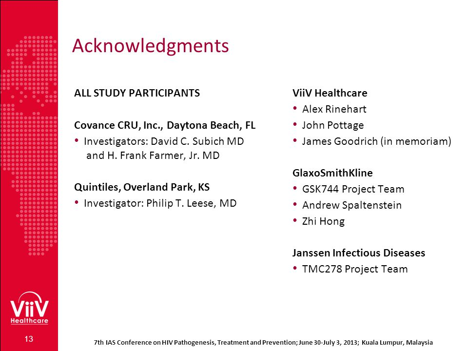 Acknowledgments ALL STUDY PARTICIPANTS