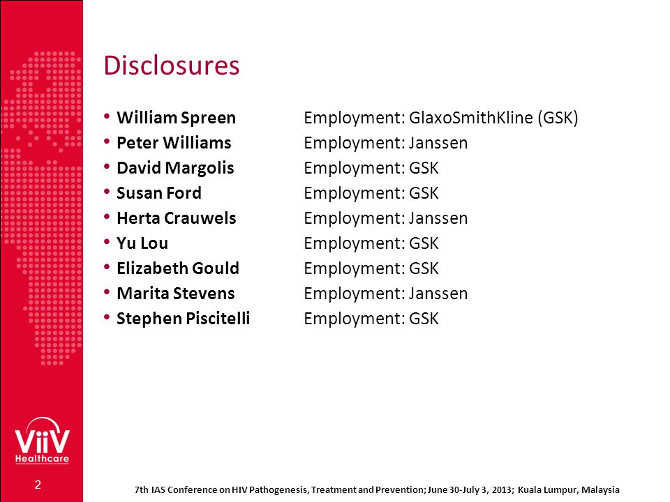 Disclosures William Spreen Employment: GlaxoSmithKline (GSK)