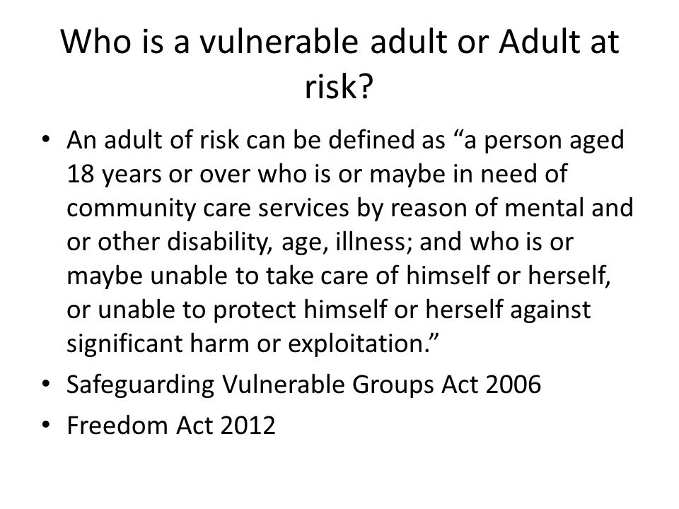 safeguarding and protection of vulnerable adults 4 essay 70 building blocks for safeguarding and promoting welfare   12 71 prevention   1213 support for vulnerable adults   144  role of the safeguarding and protection team (vulnerable persons).