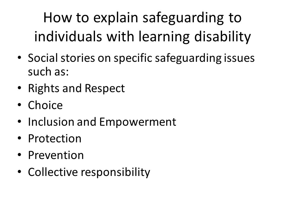 How to explain safeguarding to individuals with learning disability