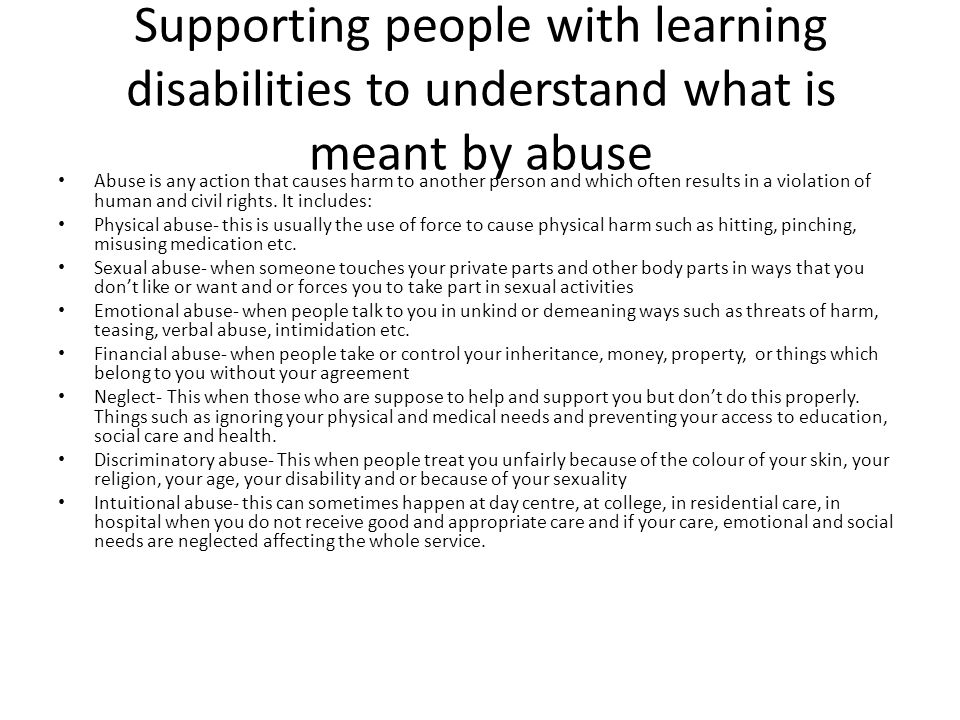 Supporting people with learning disabilities to understand what is meant by abuse
