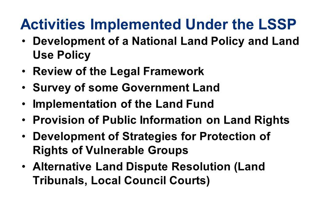 Activities Implemented Under the LSSP