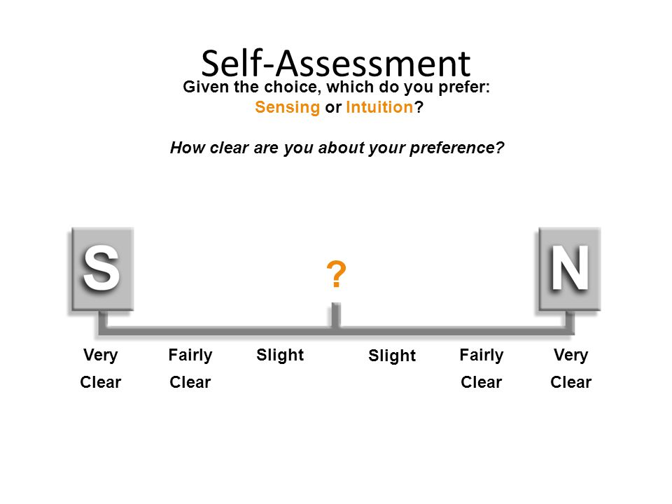 Self-Assessment Given the choice, which do you prefer: Sensing or Intuition How clear are you about your preference