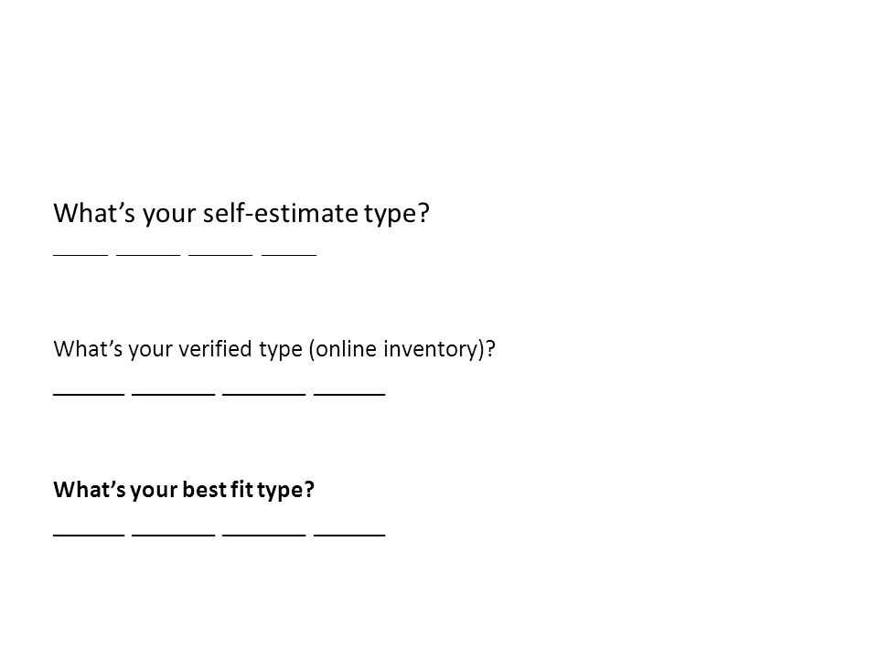 What's your self-estimate type