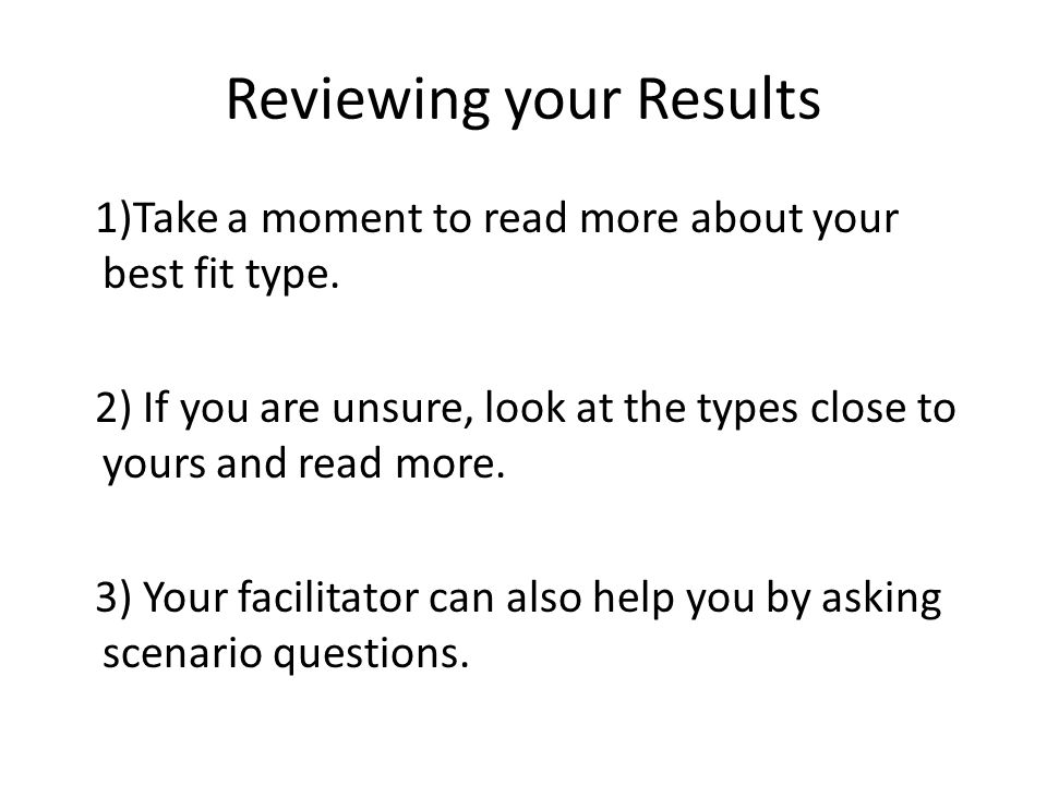 Reviewing your Results