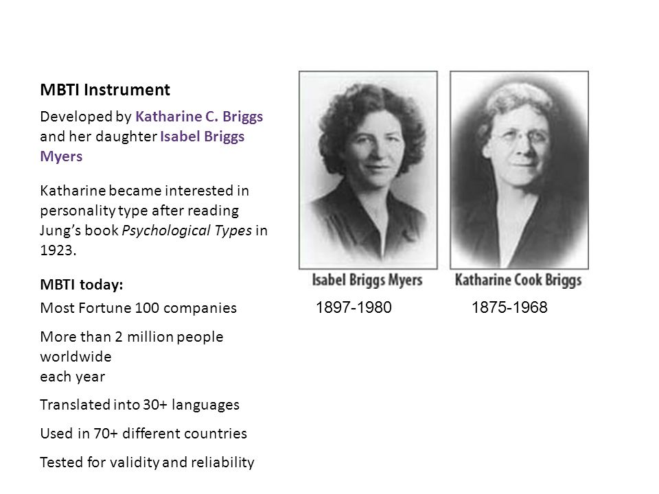 MBTI Instrument Developed by Katharine C. Briggs and her daughter Isabel Briggs Myers.