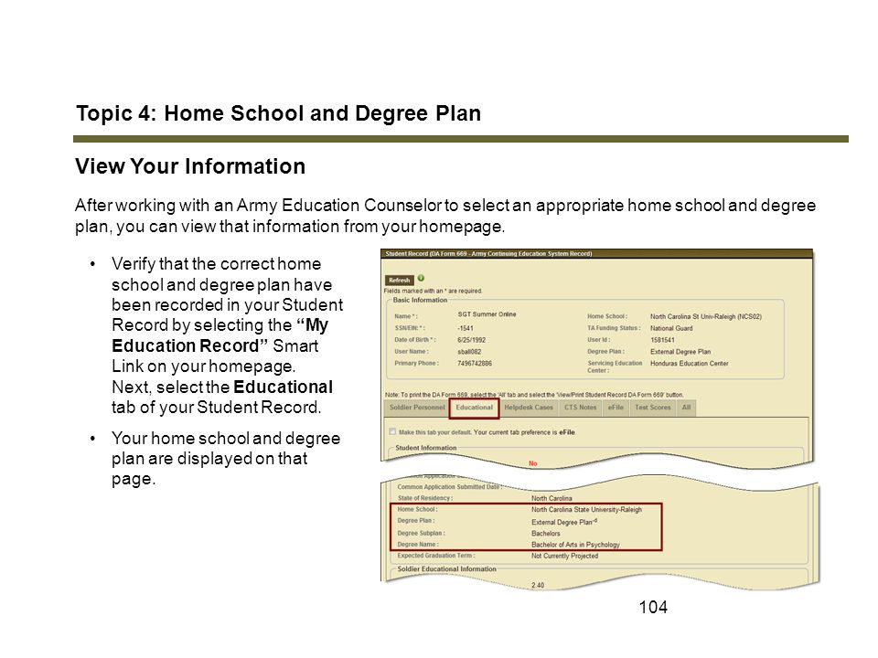 Topic 4: Home School and Degree Plan View Your Information
