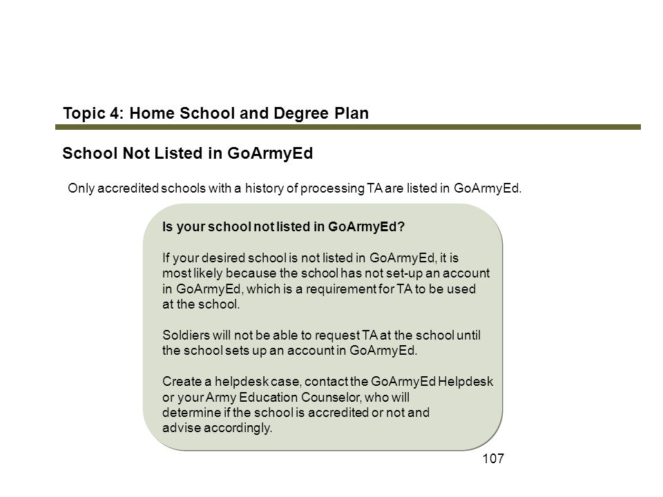 Topic 4: Home School and Degree Plan School Not Listed in GoArmyEd