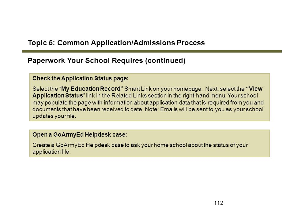 Topic 5: Common Application/Admissions Process