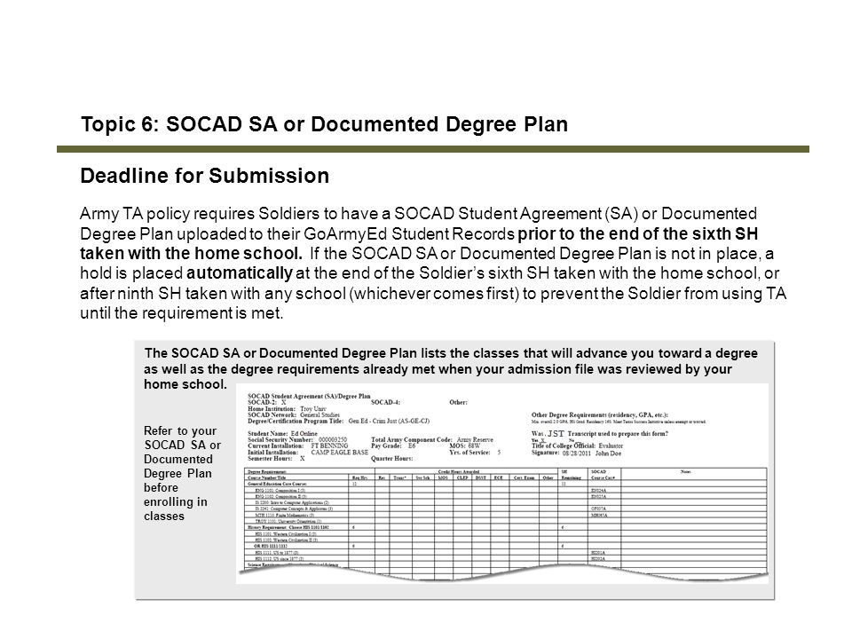 Topic 6: SOCAD SA or Documented Degree Plan Deadline for Submission