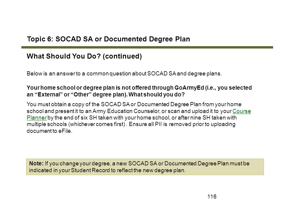 Topic 6: SOCAD SA or Documented Degree Plan