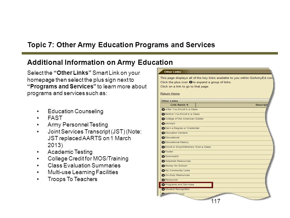 Topic 7: Other Army Education Programs and Services