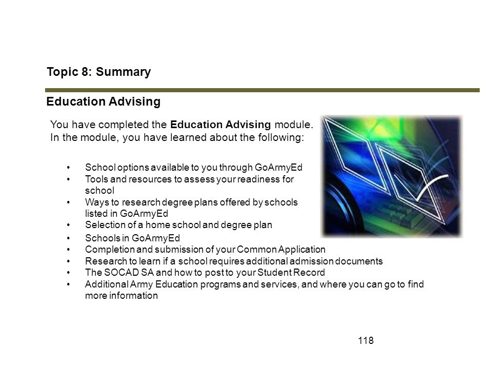 Topic 8: Summary Education Advising