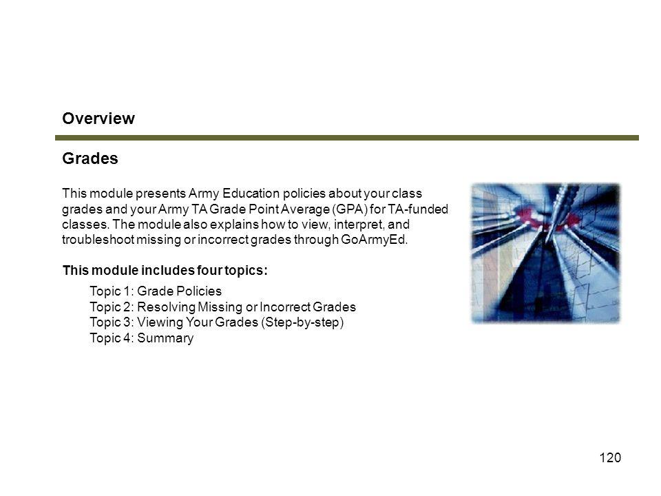 Overview Grades Module 5: Grades