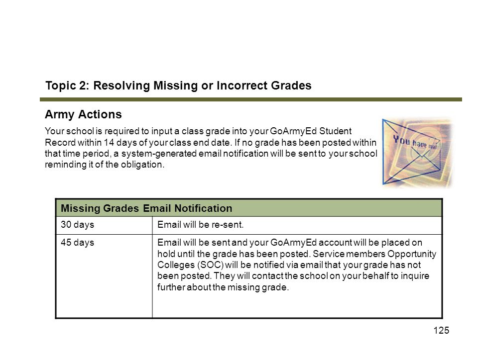 Topic 2: Resolving Missing or Incorrect Grades Army Actions