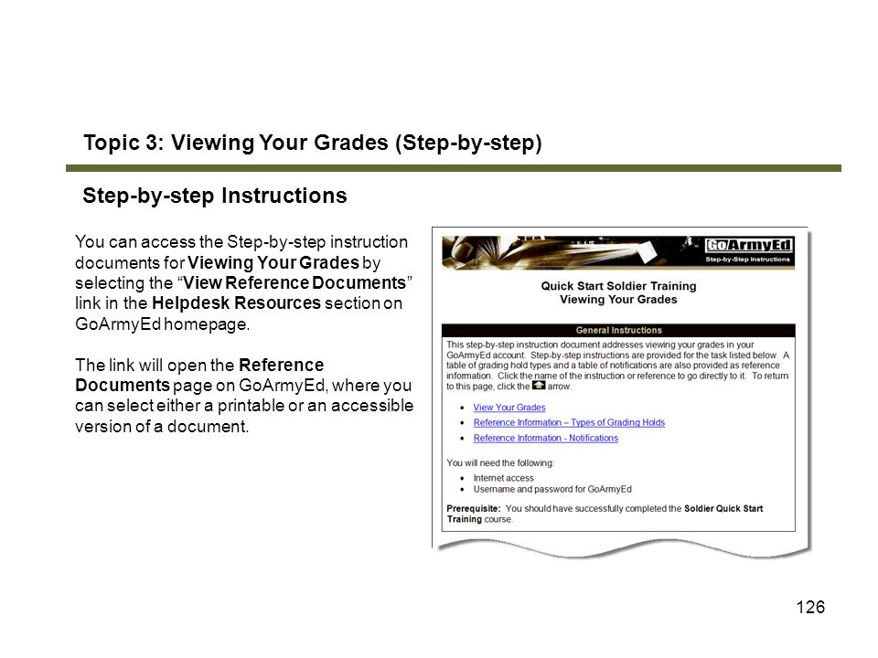 Topic 3: Viewing Your Grades (Step-by-step) Step-by-step Instructions