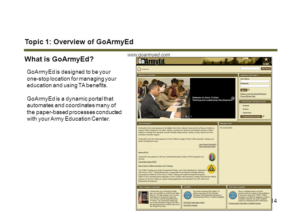 Topic 1: Overview of GoArmyEd What is GoArmyEd