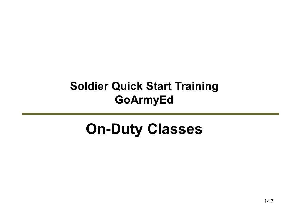 Soldier Quick Start Training