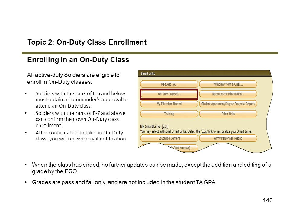 Topic 2: On-Duty Class Enrollment Enrolling in an On-Duty Class