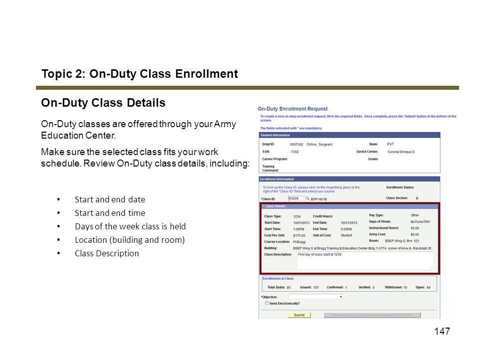 Topic 2: On-Duty Class Enrollment On-Duty Class Details
