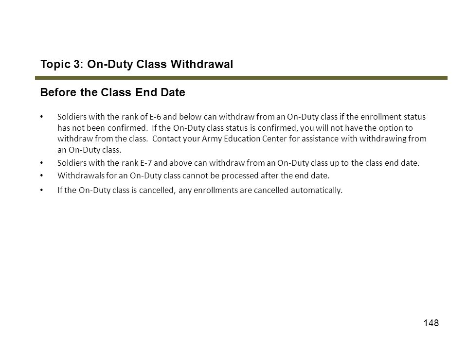 Topic 3: On-Duty Class Withdrawal Before the Class End Date