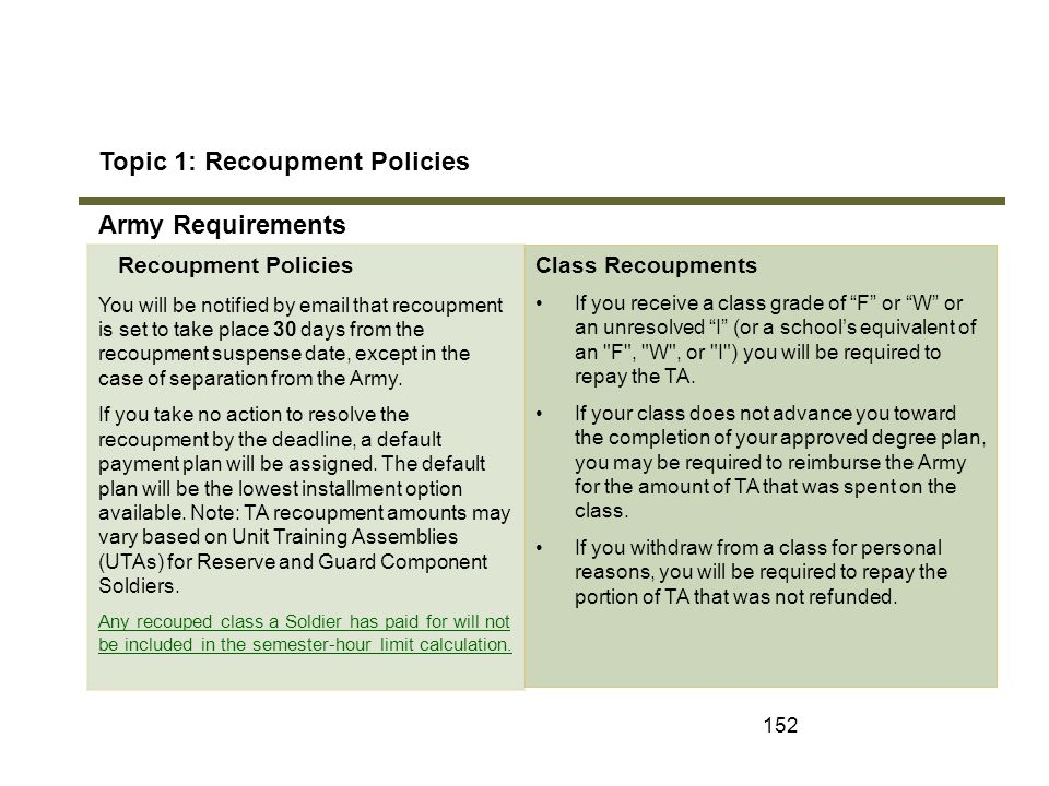 Topic 1: Recoupment Policies Army Requirements