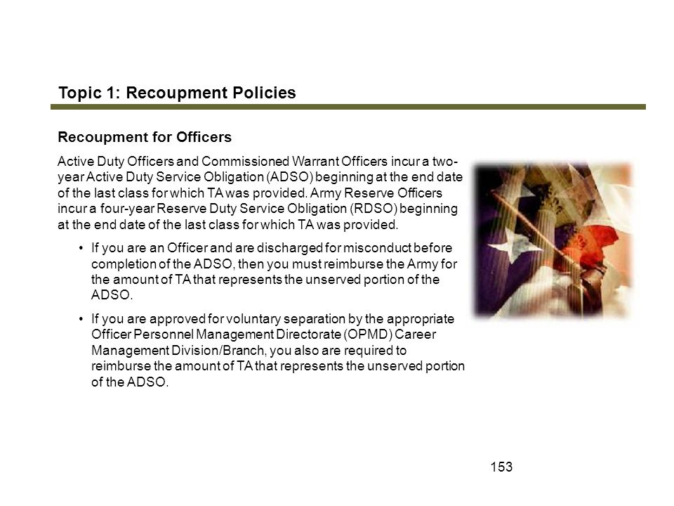 Topic 1: Recoupment Policies