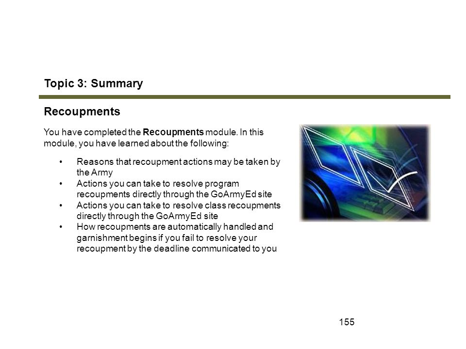 Topic 3: Summary Recoupments Module 7: Recoupments