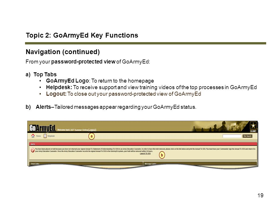 Topic 2: GoArmyEd Key Functions Navigation (continued)