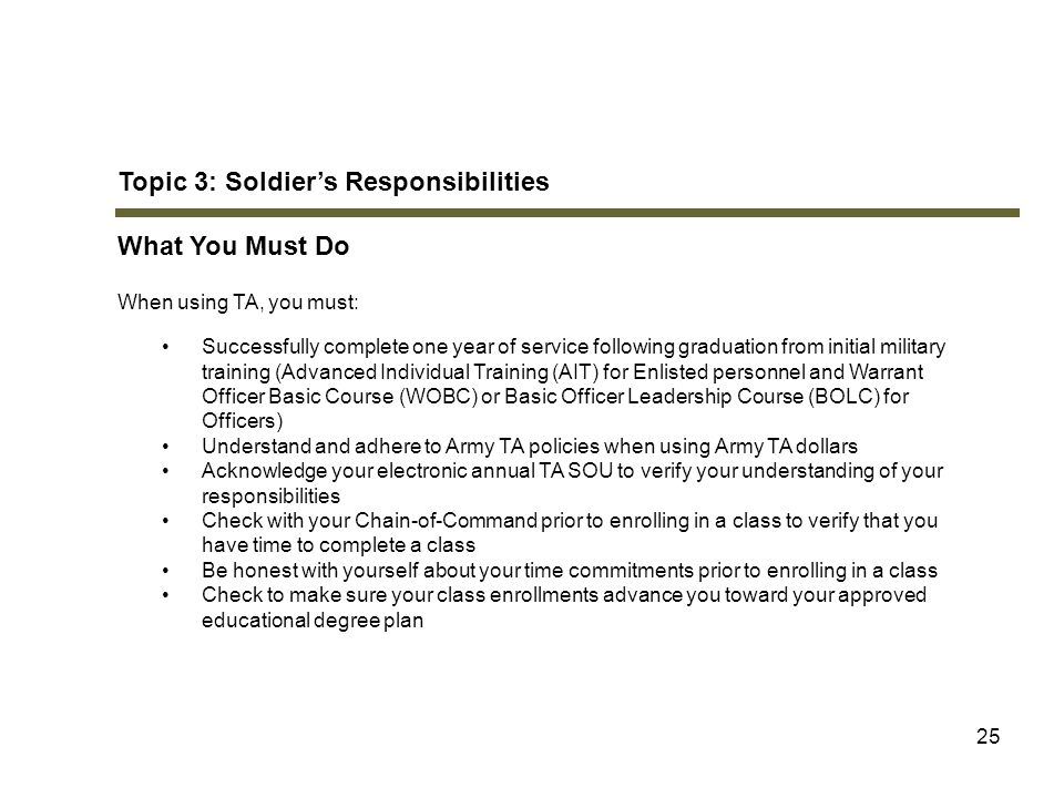 Topic 3: Soldier's Responsibilities What You Must Do