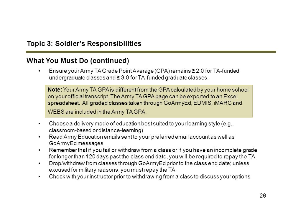 Topic 3: Soldier's Responsibilities What You Must Do (continued)