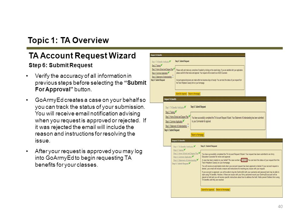 TA Account Request Wizard